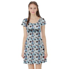 Blue Graphic Pattern Of Different Seashells Short Sleeve Skater Dress by CoolDesigns