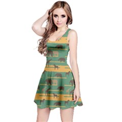 Green Pattern With African Animals Silhouettes Sleeveless Skater Dress by CoolDesigns