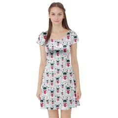 Colorful Cats With Hearts In Hands Pattern Short Sleeve Skater Dress by CoolDesigns