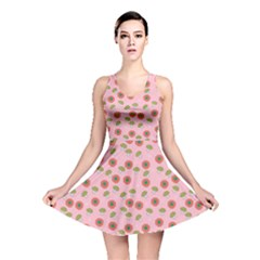 Pink Pattern With Mushroom And Flowers Reversible Skater Dress by CoolDesigns