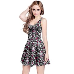 Black Crazy Babies Stylish Pattern Short Sleeve Skater Dress