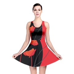 Flower Floral Red Black Sakura Line Reversible Skater Dress