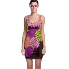 Floral Card Template Bright Colorful Dahlia Flowers Pattern Background Sleeveless Bodycon Dress by Nexatart