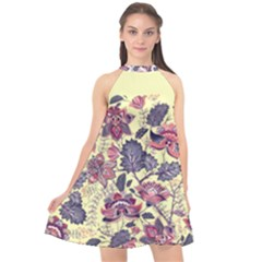 Flower Halter Neckline Chiffon Dress  by Wanni