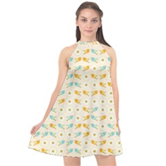 Birds And Daisies Halter Neckline Chiffon Dress