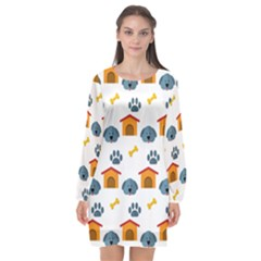 Bone House Face Dog Long Sleeve Chiffon Shift Dress  by Mariart