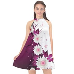 Flower Purple Sunflower Star Butterfly Halter Neckline Chiffon Dress