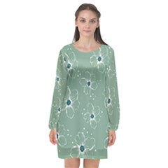 Flower Floral Sakura Sunflower Rose Blue Long Sleeve Chiffon Shift Dress  by Mariart