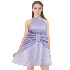 Ribbon Purple Sexy Halter Neckline Chiffon Dress  by Mariart