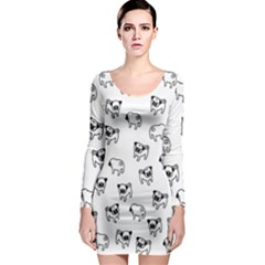 Pug Dog Pattern Long Sleeve Bodycon Dress by Valentinaart