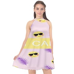 I Can Purple Face Smile Mask Tree Yellow Halter Neckline Chiffon Dress  by Mariart