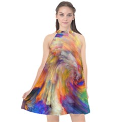 Rainbow Color Splash Halter Neckline Chiffon Dress  by Mariart
