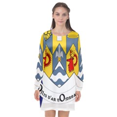 County Clare Coat Of Arms Long Sleeve Chiffon Shift Dress  by abbeyz71
