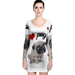 Love Pugs Long Sleeve Bodycon Dress by Valentinaart