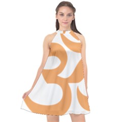 Hindu Om Symbol (sandy Brown) Halter Neckline Chiffon Dress