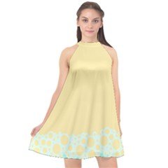 Bubbles Yellow Blue White Polka Halter Neckline Chiffon Dress  by Mariart