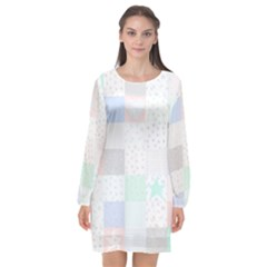 Sweet Dreams Rag Quilt Long Sleeve Chiffon Shift Dress  by Mariart