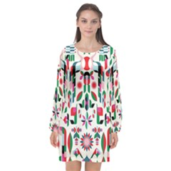 Abstract Peacock Long Sleeve Chiffon Shift Dress  by Nexatart
