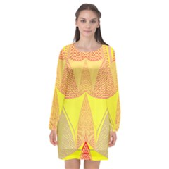 Wave Chevron Plaid Circle Polka Line Light Yellow Red Blue Triangle Long Sleeve Chiffon Shift Dress  by Mariart