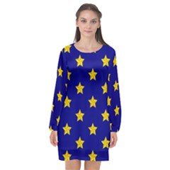 Star Pattern Long Sleeve Chiffon Shift Dress  by Nexatart