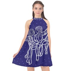 Gemini Zodiac Star Halter Neckline Chiffon Dress  by Mariart
