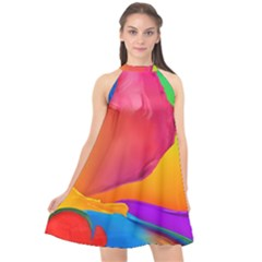 Paint Rainbow Color Blue Red Green Blue Purple Halter Neckline Chiffon Dress
