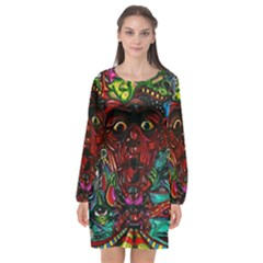 Abstract Psychedelic Face Nightmare Eyes Font Horror Fantasy Artwork Long Sleeve Chiffon Shift Dress  by Nexatart
