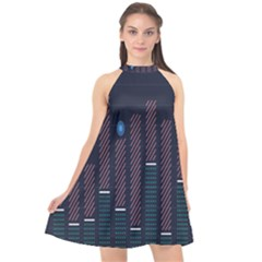 Plaid Line Circle Polka Green Red Blue Halter Neckline Chiffon Dress  by Mariart
