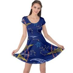 Sun Moon Seamless Star Blue Sky Space Face Circle Cap Sleeve Dresses by Mariart
