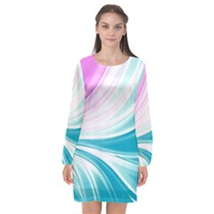 Colors Long Sleeve Chiffon Shift Dress  by ValentinaDesign