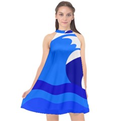 Blue Beach Sea Wave Waves Chevron Water Halter Neckline Chiffon Dress  by Mariart