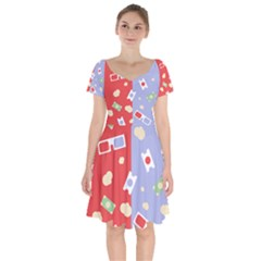 Glasses Red Blue Green Cloud Line Cart Short Sleeve Bardot Dress