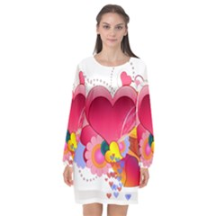 Heart Red Love Valentine S Day Long Sleeve Chiffon Shift Dress  by Nexatart