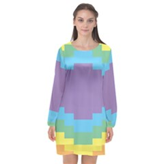 Carmigender Flags Rainbow Long Sleeve Chiffon Shift Dress  by Mariart
