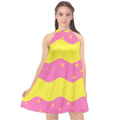 Glimra Gender Flags Star Space Halter Neckline Chiffon Dress  by Mariart
