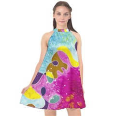 Fabric Rainbow Halter Neckline Chiffon Dress  by Mariart