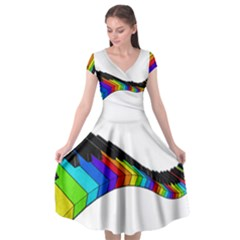 Rainbow Piano  Cap Sleeve Wrap Front Dress by Valentinaart