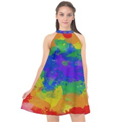 Colorful Paint Texture          Halter Neckline Chiffon Dress