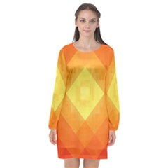 Pattern Retired Background Orange Long Sleeve Chiffon Shift Dress  by Nexatart