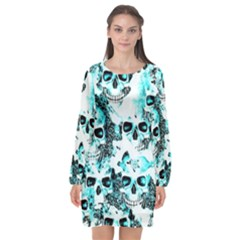 Cloudy Skulls White Aqua Long Sleeve Chiffon Shift Dress  by MoreColorsinLife