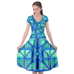 Grid Geometric Pattern Colorful Cap Sleeve Wrap Front Dress by Nexatart