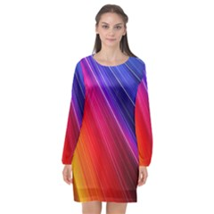 Multicolor Light Beam Line Rainbow Red Blue Orange Gold Purple Pink Long Sleeve Chiffon Shift Dress  by Mariart