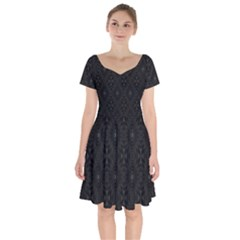 Star Black Short Sleeve Bardot Dress