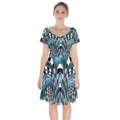 Abstract Art Design Texture Short Sleeve Bardot Dress