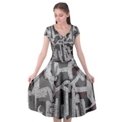 Abstract Art Cap Sleeve Wrap Front Dress by ValentinaDesign