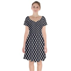 Pattern Short Sleeve Bardot Dress