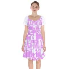 Pink Graffiti Skull Short Sleeve Bardot Dress