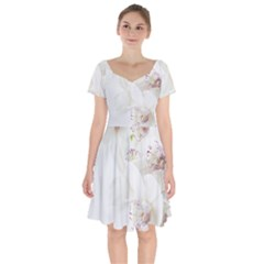 Orchids Flowers White Background Short Sleeve Bardot Dress