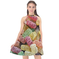 Jelly Beans Candy Sour Sweet Halter Neckline Chiffon Dress  by Nexatart