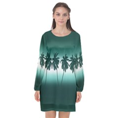 Tropical Sunset Long Sleeve Chiffon Shift Dress  by Valentinaart